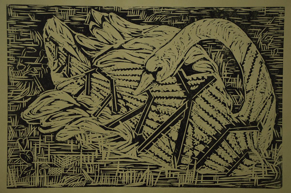Inspired from Bhandi, The Border from North 24 Parganas, Grass board relief print