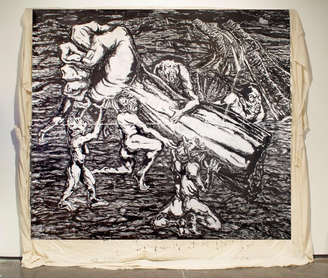 Anupam Roy, Resistance Land, Ink on paper pasted on cotton cloth