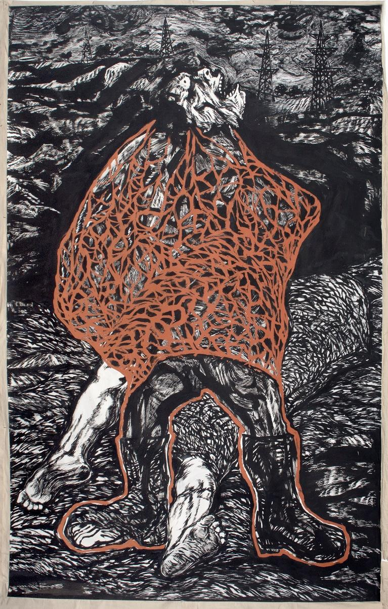 Anupam Roy, Those Who Do Not Give Up, Black pigment and distemper on paper